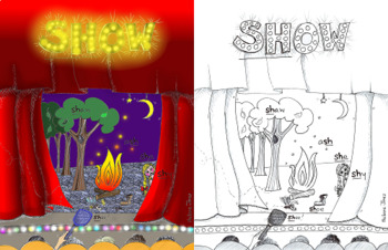 """Articulation - """"SH"""" SYLLABLE- Coloring Page and Poster - Phonology"""