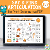 Articulation Say and Find NO-PRINT Activity for F and V