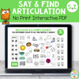Articulation Say and Find NO-PRINT Activity for S and Z