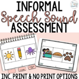 Informal Speech Sound Assessment for SLPs- Articulation Screener