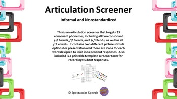 Articulation Screener - Picture Stimuli and Response Form