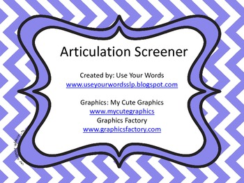 Articulation Screener (later sounds)