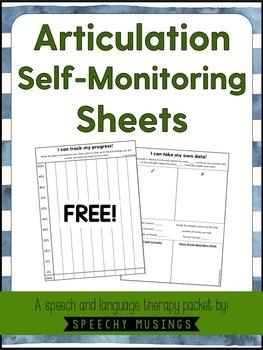 Articulation Self-Monitoring Sheets Freebie