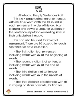 Articulation Sentences - /R/ - Phonology - Speech Therapy