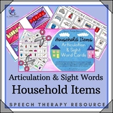 Articulation & Sight Word Cards with Visual Cues - Household Items
