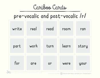 Articulation Sight Words for Cariboo