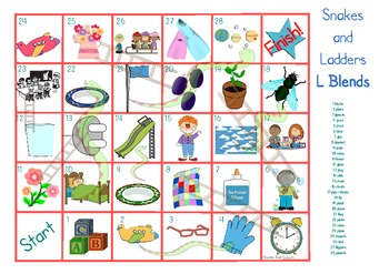 Articulation Snakes & Ladders 's', 'r' & 'L' blends