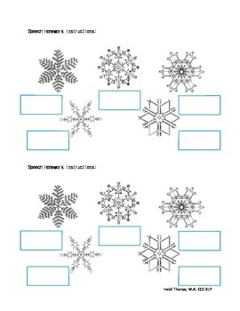 Articulation Snowflake Home Practice