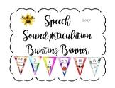Articulation Speech Sound Bunting Banner: Watercolor