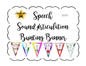 Articulation Speech Sound Bunting Banner: Watercolor