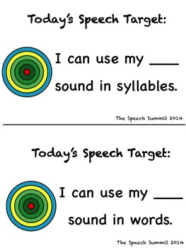 Articulation Speech Targets FREEBIE