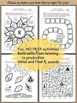 R Sound No Prep Speech Therapy Articulation Activities and Homework- Fall