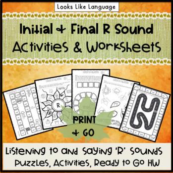 Articulation Speech Therapy Activities: 'R' Homework- September