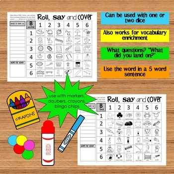 Roll, Say and Cover Articulation Game