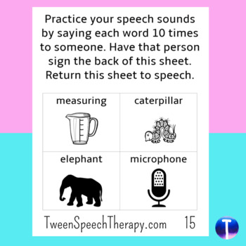 Articulation Speech Therapy Homework: Cluster & Syllable Reduction Pocket Sized