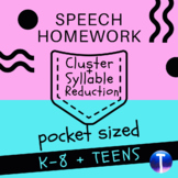 Articulation Speech Therapy Homework: Cluster & Syllable R