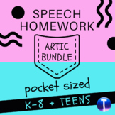 Articulation Speech Therapy Homework:  Pocket Sized Bundle