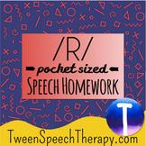 Articulation Speech Therapy Homework: Pocket Sized /R/