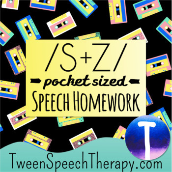 Articulation Speech Therapy Homework: Pocket Sized /S/ & /Z/