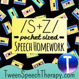 Articulation Speech Therapy Homework: Pocket Sized /S/ & /Z/