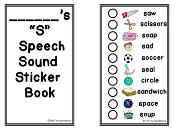 Articulation Speech Therapy Sticker Book S