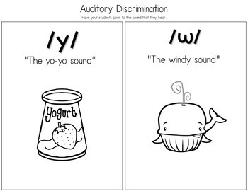 Articulation Activities and Comic Book: Speech Therapy (/y/ and /w/)
