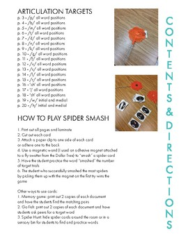Articulation Spider Smash Game: Consonants