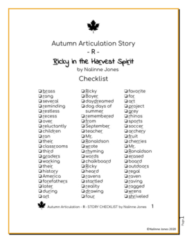 Articulation Story - /R/ - All Positions - Autumn - Phonology