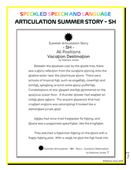 """Articulation Story - """"SH"""" - Summer Themed Reading - Phonics"""