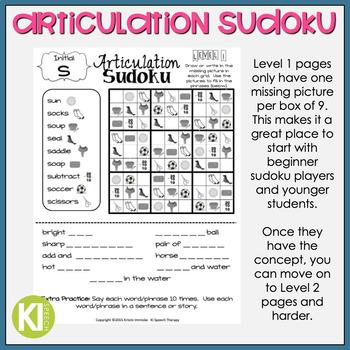 Articulation Sudoku Level 1 - No Prep Articulation Practice