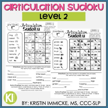Articulation Sudoku Level 2 - No Prep Articulation Practice