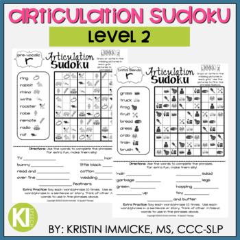 Articulation Sudoku Level 2 - No Prep Articulation Practice