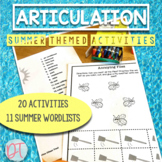 Summer Theme Articulation Worksheets | Speech Therapy