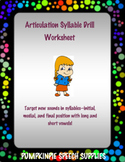 Articulation Syllable Drill Sheet