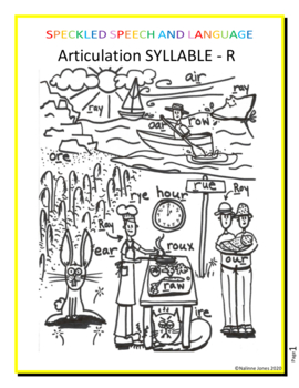 Articulation Syllable R Coloring Page Phonology