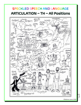 Articulation - TH Words - Coloring Sheet - Phonology - Vocab