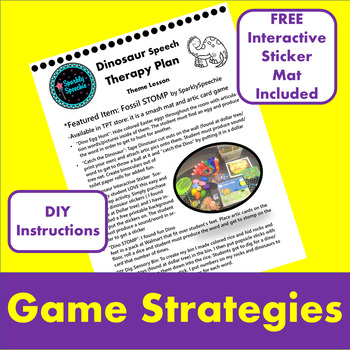 Articulation Theme Lesson Plan Dinosaur FREE EASY DIY Instructions