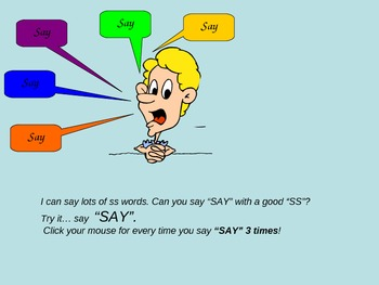 Interactive Articulation Therapy Fun. The 's' sound in words - PPT show