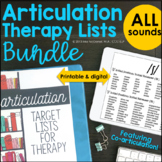 Articulation Therapy Lists BUNDLE For ALL Phonemes    Coar