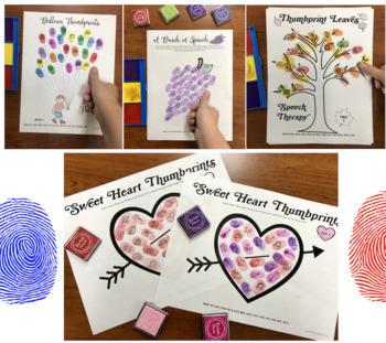 Articulation Thumbprints BUNDLE: A Speech Therapy Craft Activity