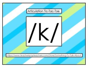 Articulation Tic-Tac-Toe:  /k/ sound