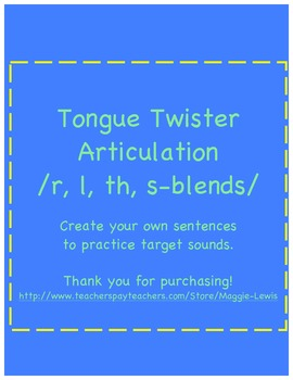 Articulation Tongue Twister Sentences R, L, TH, S-blends