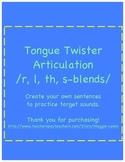 Articulation Tongue Twister Sentences R, L, TH, S-blends