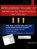 Articulation Vocalic /r/ Sentences Grab n Go!