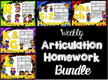 Articulation Weekly Homework BUNDLE - /r s z l sh ch k g/ - Speech tx printables