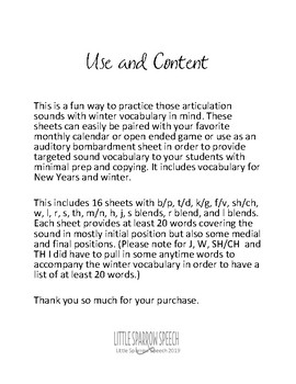 Articulation Word List by Sound - Winter Edition