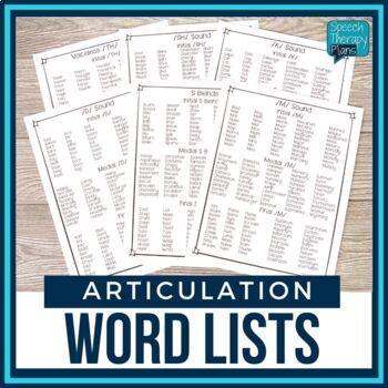 No Prep Articulation Word Lists - 15 Sounds