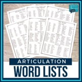 No Prep Articulation Word Lists - 21 Sounds Lists & Monthl