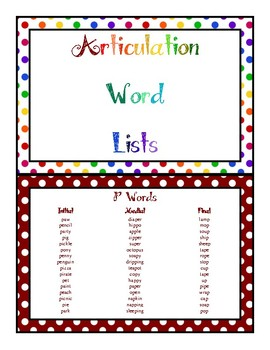 Articulation Word Lists