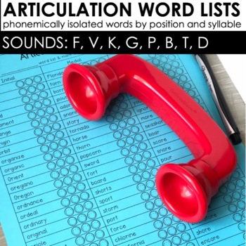 Articulation Word Lists: EARLY SOUNDS